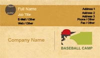 Tan Baseball Camp Business Card Template